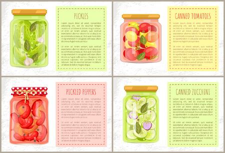 Sottaceti in marinata, pomodori in scatola con alloro e aneto e zucchine, peperoni sott'aceto. Conserve alimentari per un'alimentazione sana poster piatto vettoriale. Vettoriali