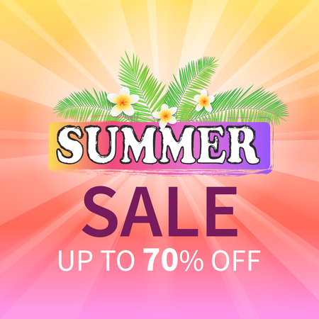 Summer sale up to 70 percent off promo poster on background of hot sun, palm leaves and flowers. Vector advertisement leaflet info about discounts