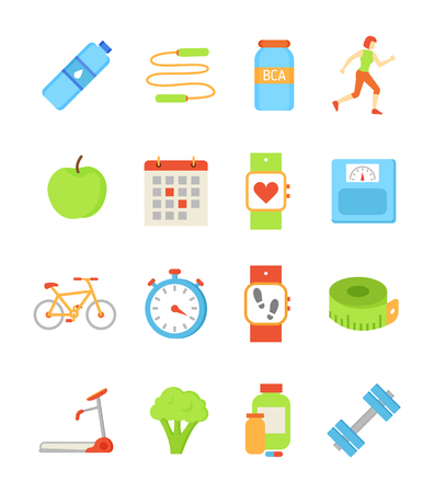 Bottle with water and jumping rope isolated icons vector. Bca vitamin amino acid for sportsmen, apple and broccoli, watches showing steps, heart rate Illustration