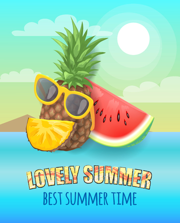 Best and lovely summer time banner, vector placard sample. Whole pineapple in sun glasses with watermelon and fruit piece isolated on cloud landscape