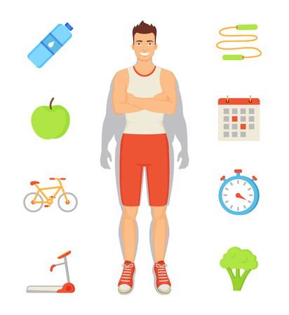 Man sportive activities, isolated icons set and sportsman. Weight loss of male, eating apples and broccoli, drinking water and doing exercise vector