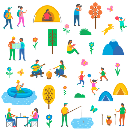 Camping on nature isolated icons set vector. People holding map, children play with ball and dog, man fishing, floating on boat. Person cooking and eating