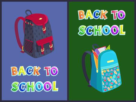 Zurück zu Schultaschenplakaten und Textset. Rucksäcke mit Kindertasche mit Notebook-Seitenlineal und Bleistift. Herz- und ABC-Muster auf Rucksackvektor