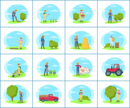 Set of banners with farmer working on farm in cartoon style. Man and woman in uniform watering plants, digging ground and sowing seeds, picking fruit