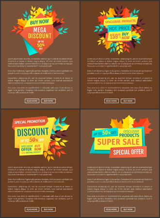Mega discount buy now posters set. Exclusive autumnal offer seasonal sellout and deal. Natural products proposition of price reductions promo vector
