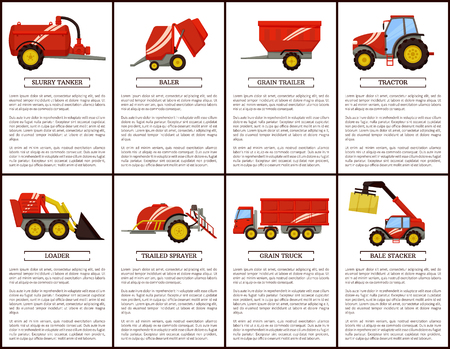 Slurry tanker and baler posters set with text sample. Machinery trailed sprayer and loader. Tractor and grain trailer, truck transporting crop vector