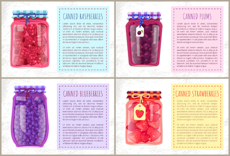 Canned raspberries and plums, blueberries and strawberries organic products. Vector poster with jam and compote jars with small labels isolated.