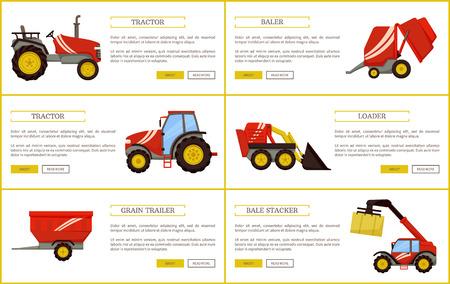 Remorque et presse à grains, empileur de balles et tracteur. Appareils agricoles ensemble d'affiches avec échantillon de texte. Machines et mécanismes pour l'agriculture vecteur