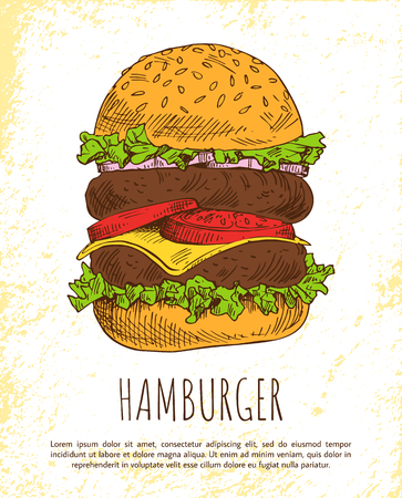 Huge Hamburger isolated on white background vector illustration of unhealthy food snack that consist from meat cutlets tomato salad cheese and buns Ilustracja