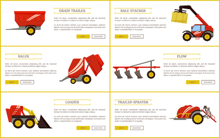 Grain trailer and bale stacker set of posters with text sample vector. Baler and plow, loader and trailed sprayer with reservoir for liquids machinery Illusztráció