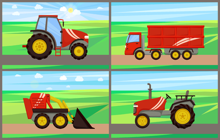 Tractor grain truck working on fields vector. Loader and agrimotor, bulldozer excavator machinery used in farming. Farm land with crops and machines
