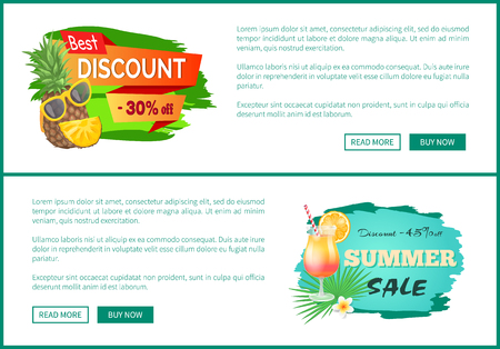 Best discount 30 percent off promo poster with cute pineapple in sunglasses and discount 45 off advert label with tropical cocktail vector web pages