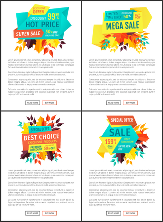 Hot price best choice set offer. Autumnal seasonal proposition reduction of price limited time only. Premium natural products reduced price vector Standard-Bild - 127597014