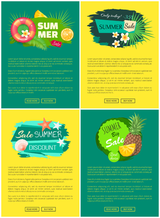 Summer sale tropical banners advertisement labels decorated by orange, pineapple fruits, exotic flowers, inflatable lifebuoy and sea shells vector with text Çizim