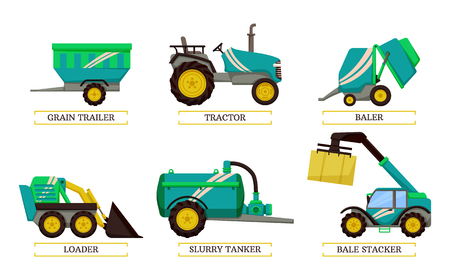 Slurry tanker and loader isolated icons set vector. Tractor and grain trailer for transportation of harvested crops. Baler bale stacker with hay cube