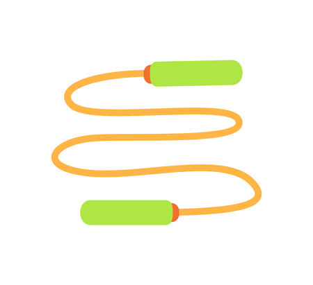 Jumping rope exercise isolated icon vector. Traditional equipment used in gym during workouts. Training cord with handles, weight loss train object