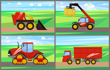 Loader and grain truck, bale stacker baler set. Agricultural machinery devices working om farming lands and field. Machines farm mechanisms vector