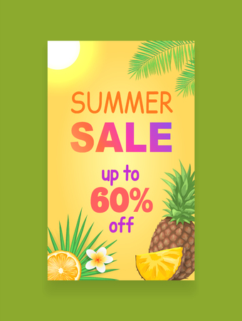 Summer sale vector banner, season discount leaflet sample. Whole pineapple and slice of fruit, piece of orange and exotic flower, sun and palm leaves Archivio Fotografico - 127597028