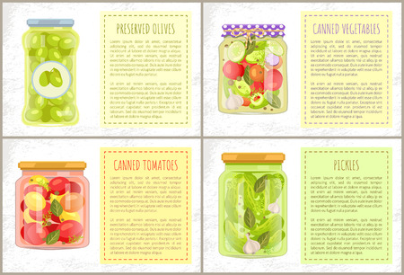 Preserved green olives, canned tomatoes and vegetables, pickles glasses and text sample. Vector natural veggie canned foodstuff flat jars.