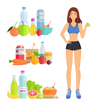 Weight loss and healthy food isolated icons. Veggies vegetables and fruits, banana and orange, strawberry and pear. Bottles with milk and water vector