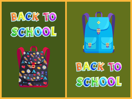 Back to school backpack poster and text. Schoolbag with pencil hearts abc and flowers pattern. Closed pockets, pupil rucksack discipline vector Zdjęcie Seryjne - 127597035