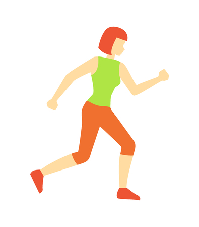 Running woman sport jogging isolated icon vector. Athlete female running, wearing sportswear working on endurance of body. Cardio training exercises