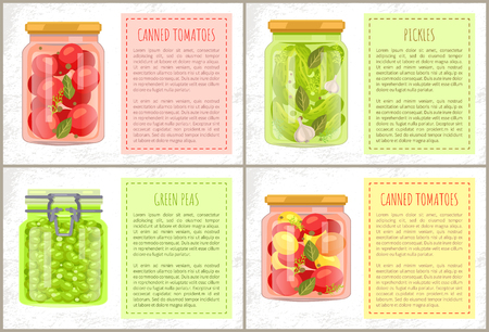 Canned tomatoes with bay-leaf, dill and peppercorn, pickles with garlic and green peas vector jars. Isolated conservation, frame for text, preserved food. Çizim