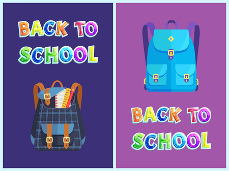 Back to school bags set pupils satchels with notebook textbook pencil and ruler. Backpack for student to carry books. Rucksack types poster vector