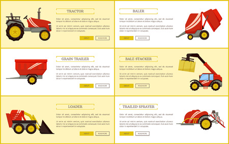 Tractor and trailed sprayer set of posters with text sample and agricultural machinery. Equipment for farming works, bale stacker and loader vector