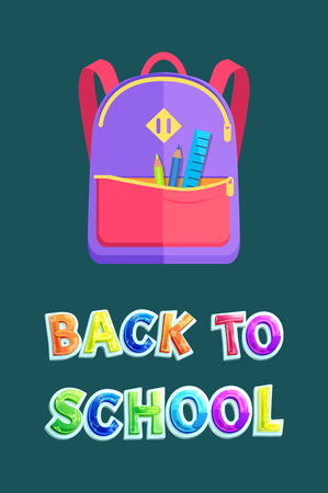 Backpack with stationery, back to school poster. Girlish schoolbag, ruler and pencils in front pocket on zipper banner cartoon vector illustration.