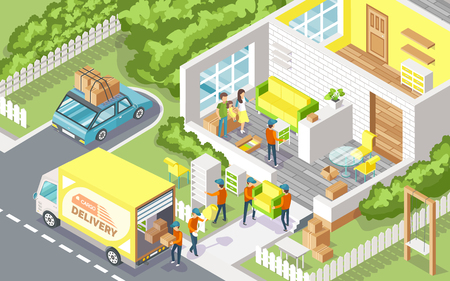 Cargo delivery company people 3D vector. Family moving out using service of transportation of furniture. Building with rooms and workmen in uniforms Иллюстрация