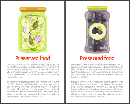 Preserved food posters, vegetables in marinade. Cucumbers with onions, black Greek olives inside jars web promo banners vector illustrations set.