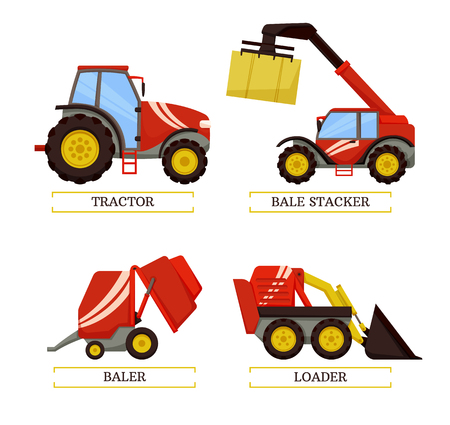 Tractor and baler agricultural machines isolated icons vector set. Bale stacker and loader excavator. Machinery to easy farming work. Farm mechanisms