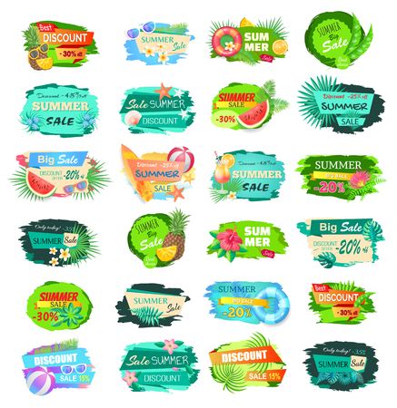 Summer sale advertisement icons labels vector illustration isolated on white. Big set of summertime labels with fruits, flowers and info about discounts Illustration