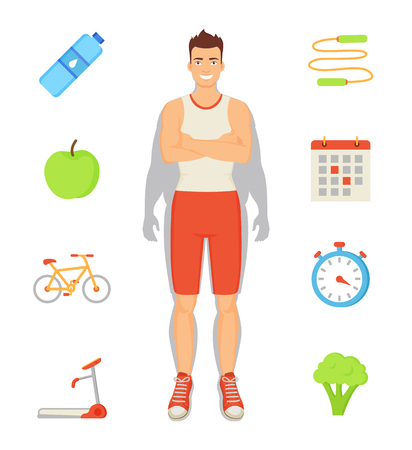 Man Sportive Activities Set Vector Illustration