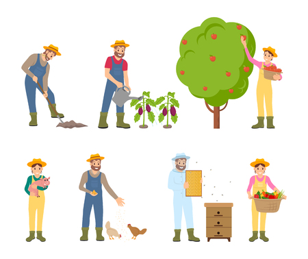 Farmers woman and man farming isolated icons vector. Harvesting fruit tree with apples and woman picking up products. Breeding of animals beekeeping