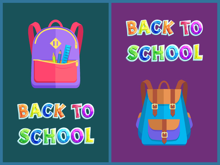 Back to school posters with backpacks for pupils. Rucksacks or satchels full of stationery supplies, pencils and ruler banners vector illustrations.