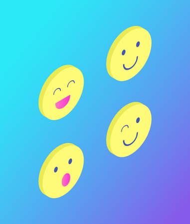 Emoji emoticons set isolated icons vector. Chatting elements used in conversation between teenagers. Laughing and winking face, surprised rounded head