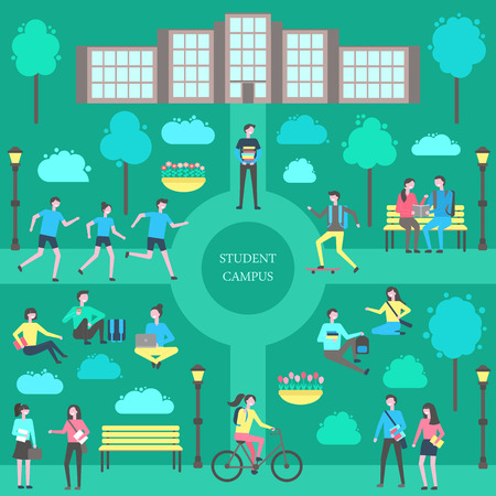 Student campus teenagers poster vector. Park and main building, male carrying books person with laptop, jogging group and lady on bicycle. Skating boy