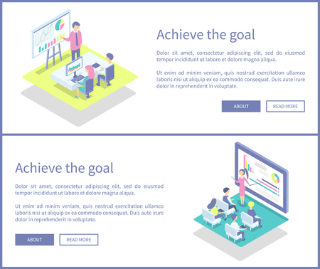Achieve goal plans of people workers set posters vector. Monitor with diagrams and charts, employees at conference working in team. Teamwork analysis
