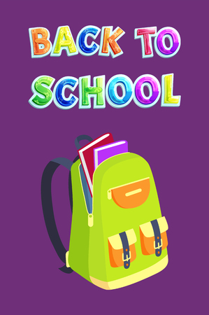 Back to school advert flyer including bright bag with small pockets on bands. Vector opened backpack on slide fastener with books and notebooks poster