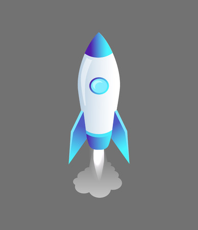 Launching Rocket Craft Icon Vector Illustration Ilustração