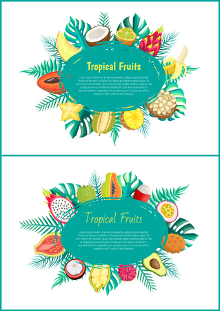 Tropical Fruits Banner with Exotic Food Oval Frame