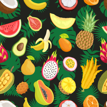 Tropical Exotic Fruits Green Leaf Seamless Pattern Çizim