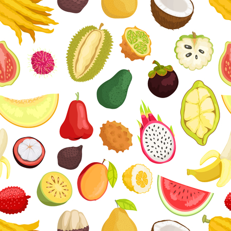 Seamless Pattern Tropical Fruits Vector Isolated