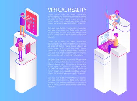 Virtual Reality Text Poster Vector Illustration Stok Fotoğraf