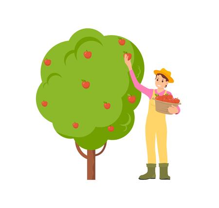 Agriculteur Récolte Saison Icône Illustration Vectorielle