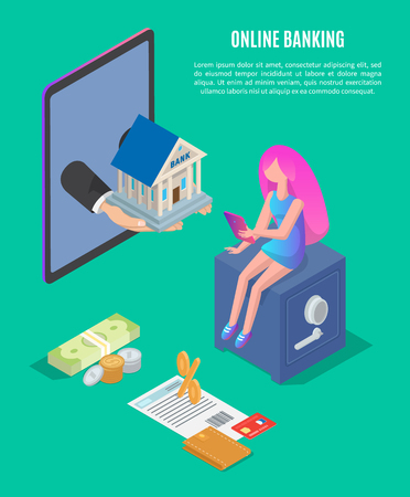 Online Banking Poster Text Vector Illustration Фото со стока
