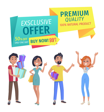 Exclusive offer and premium quality natural product ribbons and people happy of shopping. Man with pile of bags client with gift box and ladies vector