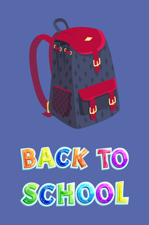 Back to school poster including dark schoolbag with big partition, pockets with straps and mesh fabric inset. Vector pupil backpack for books carrying Stockfoto - 127558628